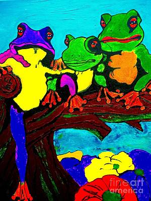 Painting - Frog Family Bold Color by Saundra Myles