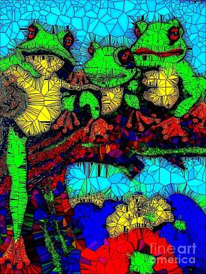 Painting - Frog Family Glass Mosaic by Saundra Myles