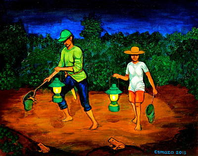 Night Lamp Painting - Frog Hunters by Cyril Maza