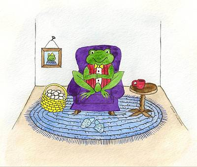 Frog In Purple Chair Art Print