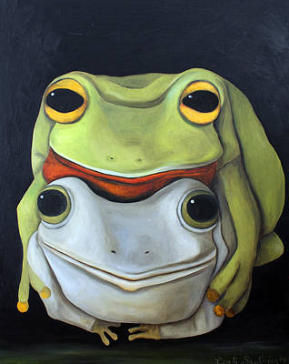 Kinky Painting - Frog Love-the Embrace by Leah Saulnier The Painting Maniac
