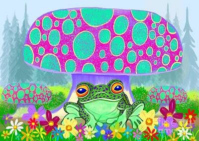 Royalty-Free and Rights-Managed Images - Frog mushrooms and flowers by Nick Gustafson