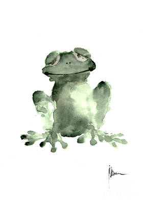 Amphibians Wall Art - Painting - Frog Painting Watercolor Art Print Green Frog Large Poster by Joanna Szmerdt