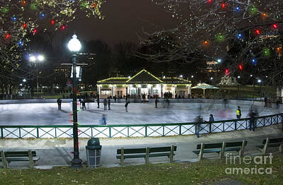Winter Night Photograph - Frog Pond Ice Skating Rink In Boston Commons by Juli Scalzi