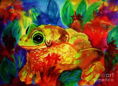 Painting - Frog - Psychedelic Tropical Tree Frog by Ellen Levinson