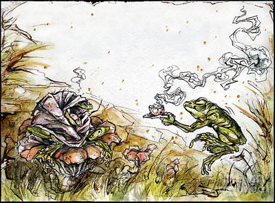 Get Well Soon Painting - Frog Soup by Stefanie Caro