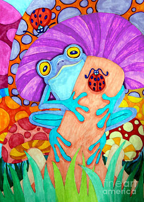 Fantasy Drawings - Frog Under a Mushroom by Nick Gustafson