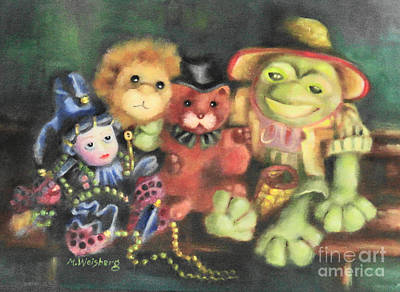 Mardi Gras Drawing - Froggie And Friends by Marilyn Weisberg