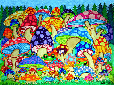 Animals Drawings - Frogs and Magic Mushrooms by Nick Gustafson