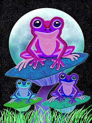 Frogs Drawing - Frogs In The Moonlight by Nick Gustafson
