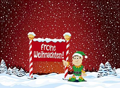 Holiday Digital Art - Frohe Weihnachten Sign Christmas Elf Winter Landscape by Frank Ramspott