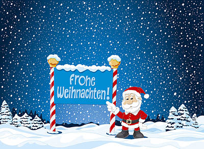 Frohe Weihnachten Sign Santa Claus Winter Landscape Art Print