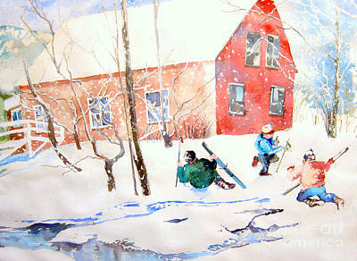Ski Painting - Frolic In Vermont by Vannucci Fine Art