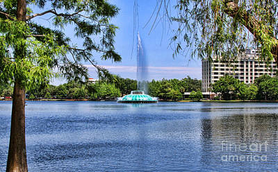 Photograph - Frolicing Fountain Lake Eola By Diana Sainz by Diana Raquel Sainz