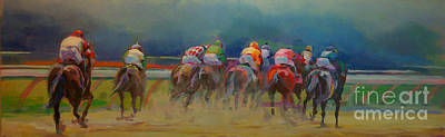 Racetrack Painting - From Behind by Kimberly Santini