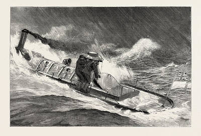 Hong Kong Drawing - From Hong Kong To Macao In A Torpedo Boat, Full Speed by English School