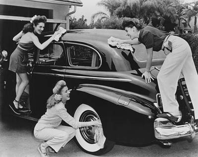 Car Wash Photograph - From Left, Laverne Andrews, Patty by Everett