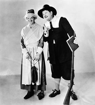 From Left Stan Laurel And Oliver Hardy Art Print by Everett