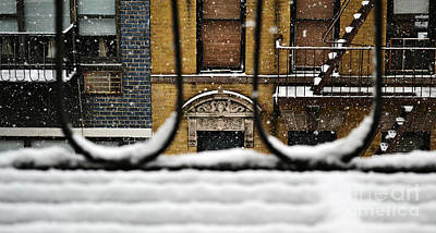 Photograph - From My Fire Escape - Arches In The Snow by Miriam Danar