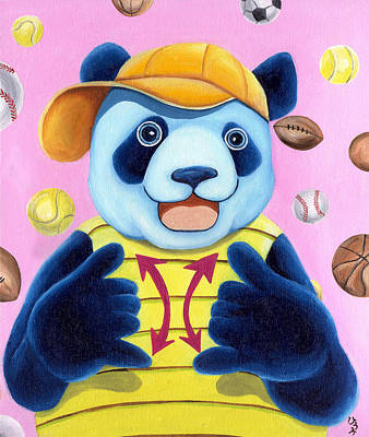 Baseball Painting - From Okin The Panda Illustration 14 by Hiroko Sakai
