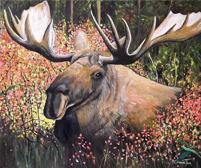 Painting - From Out Of Nowhere - Moose by Connie Tom
