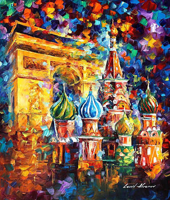 From Paris To Moscow - Palette Knife Oil Painting On Canvas By Leonid Afremov Original by Leonid Afremov