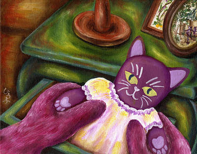 Art Print featuring the painting From Purple Cat Illustration 20 by Hiroko Sakai
