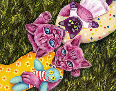 Art Print featuring the painting From Purple Cat Illustration 23 by Hiroko Sakai