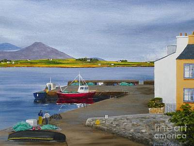Currach Painting - 'from Roundstone Harbour To Cashel Hill' by Yvonne King