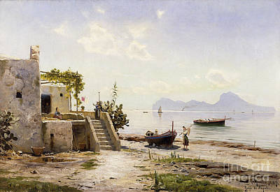 Water Vessels Painting - From Sorrento Towards Capri by Peder Monsted