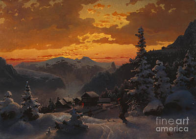 Winter Sports Painting - From Telemark by Hans Gude