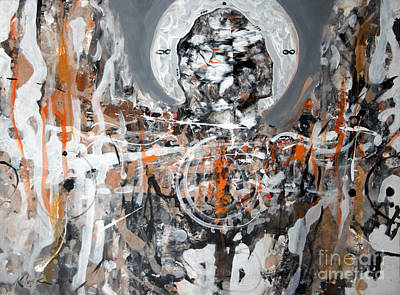 Decalcomania Painting - from The Book of Angels series The waiting 138 by Ovidiu  KLOSKA