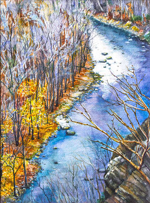 River Art Mixed Media - From The Cliffs Of High Rocks Park by Patricia Allingham Carlson