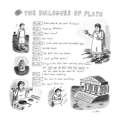 From The Dialogues Of Plato Art Print by Roz Chast