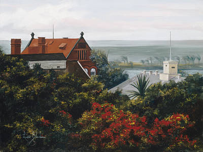 Florida Flowers Painting - From The Holiday Inn - Key West by Lucie Bilodeau