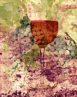 Glass Of Wine Mixed Media - From The Vine by Mindy Bench