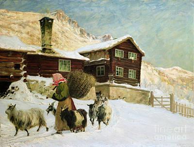 Mountain Goat Painting - From Vaga by Gustav Wentzel