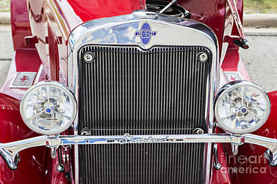 Photograph - Front End 1929 Chevrolet Classic Car Automobile Color Red 3131.0 by M K  Miller