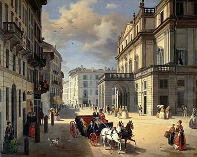 Front Of La Scala Theatre, 1852 Oil On Canvas Art Print by Angelo Inganni