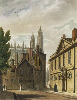 Front Of Trinity Hall, Cambridge Art Print by Augustus Charles Pugin