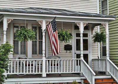 Front Porch Flag Print by Victor Montgomery