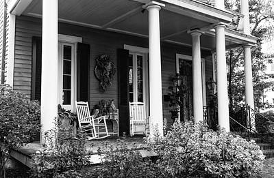 Photograph - Front Porch In The Garden District Mono by John Rizzuto