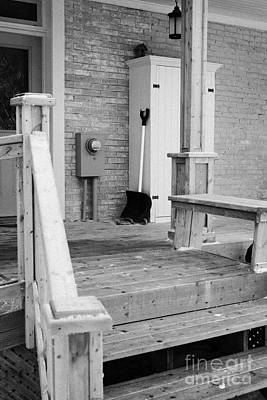 front porch of a house cleared of snow during winter in Forget Saskatchewan Canada Art Print by Joe Fox