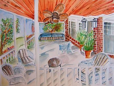 Front Porch Sitting Art Print by Elaine Duras