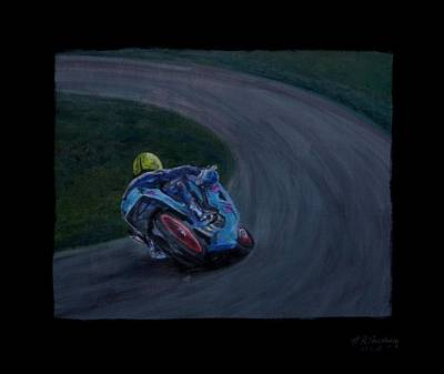 Front Runner Joey Dunlop Art Print by Andrew Roy Thackeray