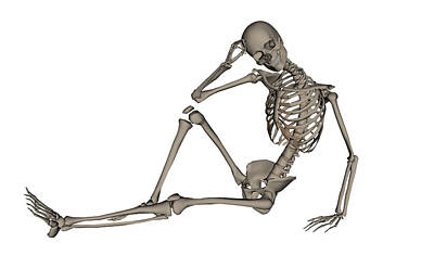 Front View Of A Human Skeleton Posing Art Print by Elena Duvernay