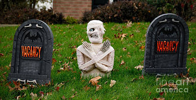 Montage Photograph - Front Yard Halloween Graveyard by Amy Cicconi