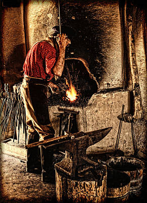 Photograph - Frontier Blacksmith At The Forge by Lincoln Rogers