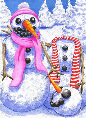 Snowwoman Painting - Frosty Always Loses His Head Over A Pretty Girl by Catherine G McElroy