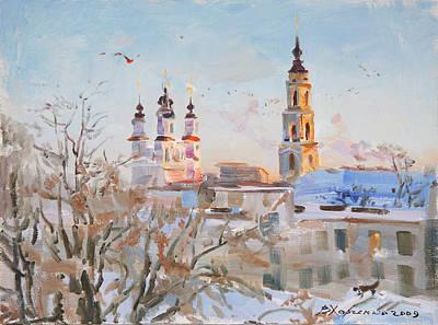 Frosty Evening Original by Victoria Kharchenko